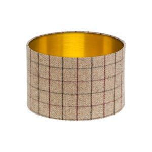 Bamburgh Mulberry Tartan Drum Lampshade Brushed Gold Inner