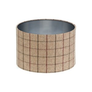 Bamburgh Mulberry Tartan Drum Lampshade Brushed Silver Inner
