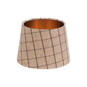 Bamburgh Mulberry Tartan French Drum Lampshade Brushed Copper Inner