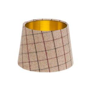Bamburgh Mulberry Tartan French Drum Lampshade Brushed Gold Inner