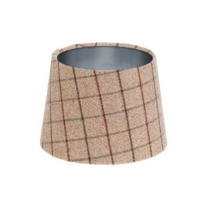 Bamburgh Mulberry Tartan French Drum Lampshade Brushed Silver Inner