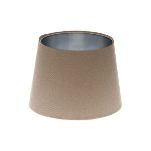 Dark Beige French Drum Lampshade Brushed Silver Inner