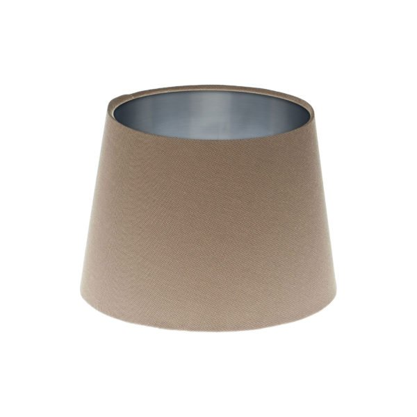 Dark Beige French Drum Lampshade Brushed Silver Inner