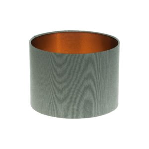 Dark Grey Drum Lampshade Brushed Copper Inner