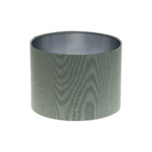 Dark Grey Drum Lampshade Brushed Silver Inner