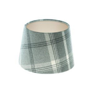 Balmoral Dove Grey Tartan French Drum Lampshade Champagne Inner