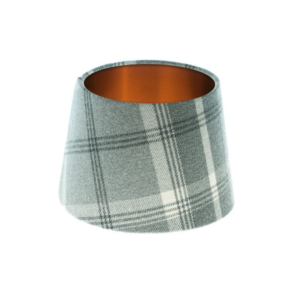 Balmoral Dove Grey Tartan French Drum Lampshade Brushed Copper Inner