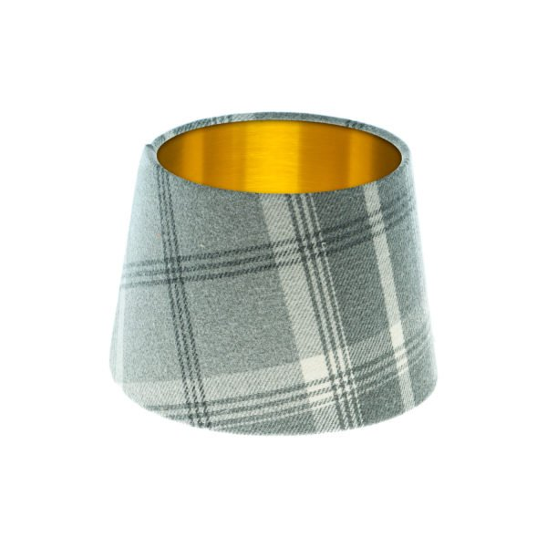 Balmoral Dove Grey Tartan French Drum Lampshade Brushed Gold Inner