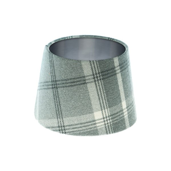 Balmoral Dove Grey Tartan French Drum Lampshade Brushed Silver Inner