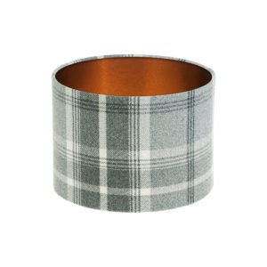 Balmoral Dove Grey Tartan Drum Lampshade Brushed Copper Inner