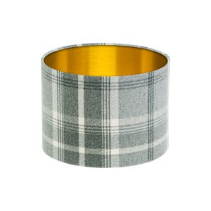Balmoral Dove Grey Tartan Drum Lampshade Brushed Gold Inner