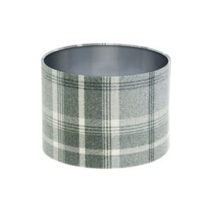 Balmoral Dove Grey Tartan Drum Lampshade Brushed Silver Inner