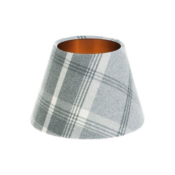 Balmoral Dove Grey Tartan Empire Lampshade Brushed Copper Inner