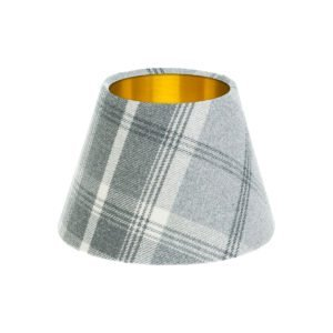 Balmoral Dove Grey Tartan Empire Lampshade Brushed Gold Inner