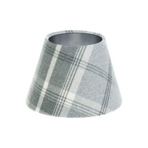 Balmoral Dove Grey Tartan Empire Lampshade Brushed Silver Inner