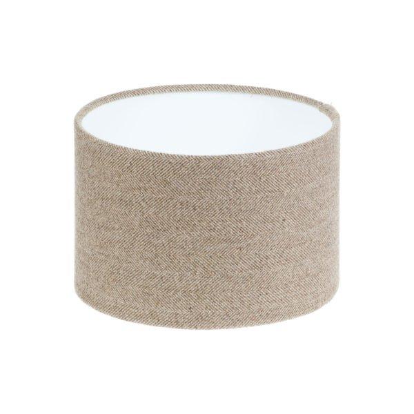 Beige Herringbone Tweed Drum Lampshade