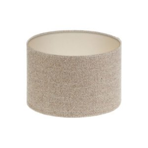 Beige Herringbone Tweed Drum Lampshade Champagne Inner