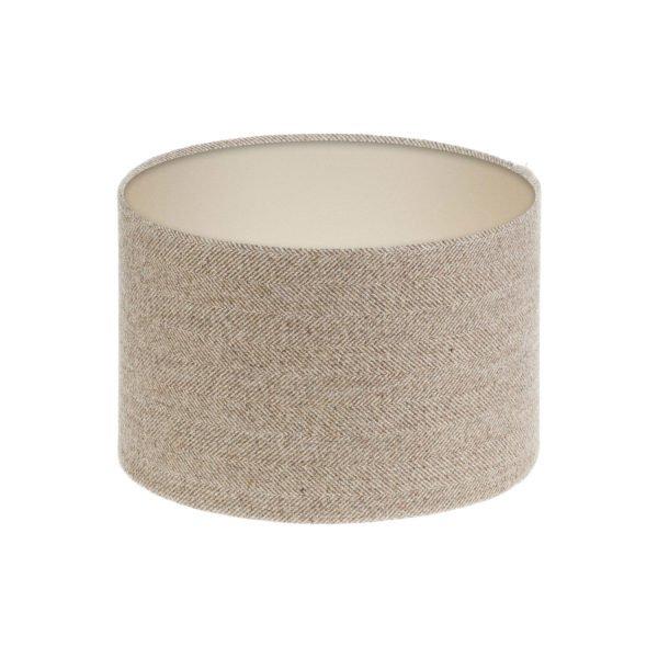 Beige Herringbone Tweed Drum Lampshade Champagne Inner
