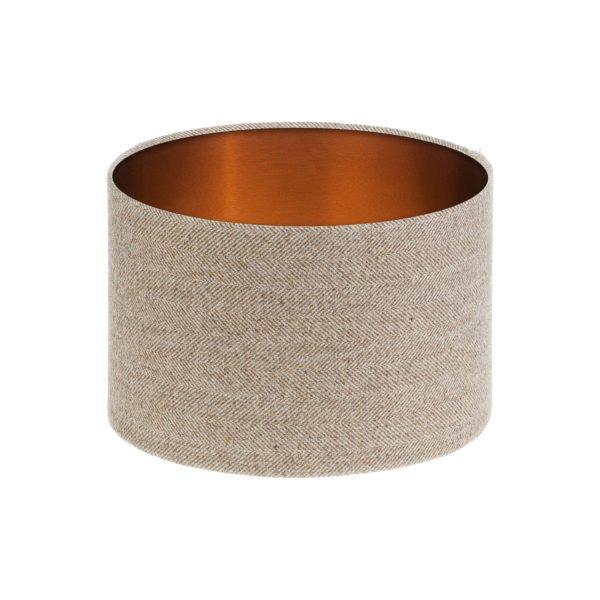 Beige Herringbone Tweed Drum Lampshade Brushed Copper Inner