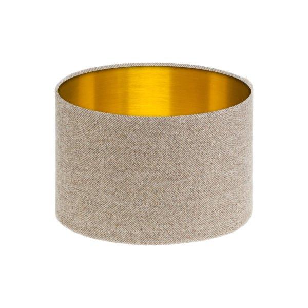 Beige Herringbone Tweed Drum Lampshade Brushed Gold Inner