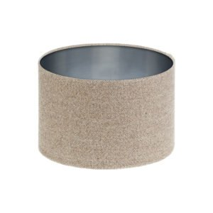 Beige Herringbone Tweed Drum Lampshade Brushed Silver Inner