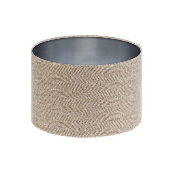 Beige Herringbone Tweed Drum Lampshade Brushed Silver Inner