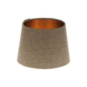 Beige Herringbone Tweed French Drum Lampshade Brushed Copper Inner