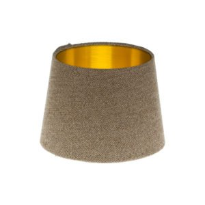 Beige Herringbone Tweed French Drum Lampshade Brushed Gold Inner