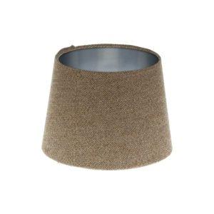 Beige Herringbone Tweed French Drum Lampshade Brushed Silver Inner