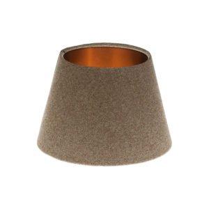 Beige Herringbone Tweed Empire Lampshade Brushed Copper Inner