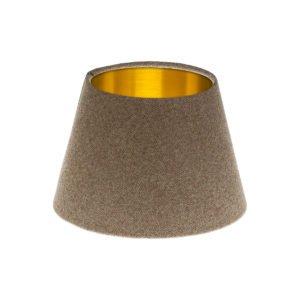 Beige Herringbone Tweed Empire Lampshade Brushed Gold Inner