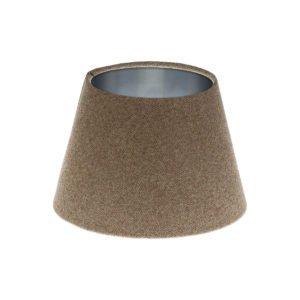 Beige Herringbone Tweed Empire Lampshade Brushed Silver Inner