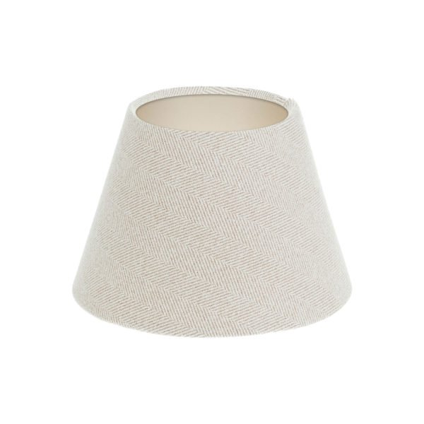 Cream Herringbone Tweed Empire Lampshade Champagne Inner