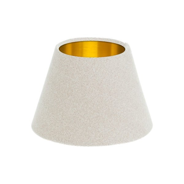 Cream Herringbone Tweed Empire Lampshade Brushed Gold Inner