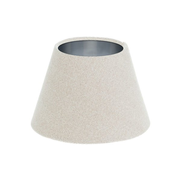 Cream Herringbone Tweed Empire Lampshade Brushed Silver Inner