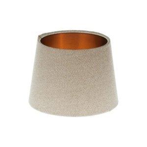 Cream Herringbone Tweed French Drum Lampshade Brushed Copper Inner