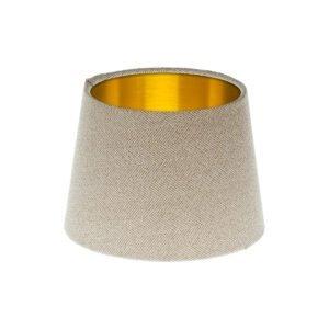 Cream Herringbone Tweed French Drum Lampshade Brushed Gold Inner