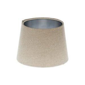 Cream Herringbone Tweed French Drum Lampshade Brushed Silver Inner