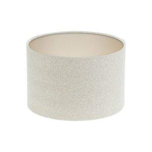 Cream Herringbone Tweed Drum Lampshade Champagne Inner