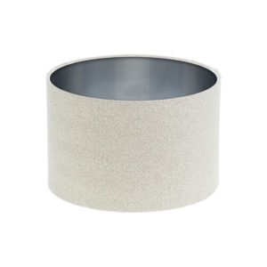 Cream Herringbone Tweed Drum Lampshade Brushed Silver Inner
