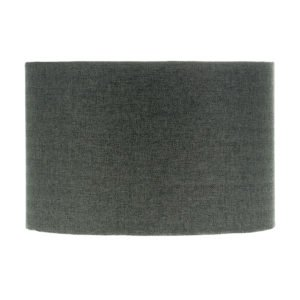 Dark Grey Herringbone Tweed Drum Lampshade