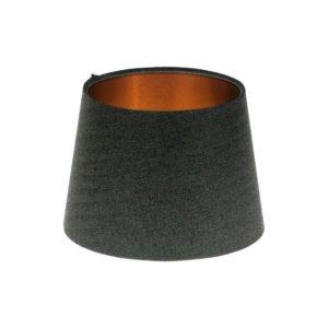 Dark Grey Herringbone Tweed French Drum Lampshade Brushed Copper Inner