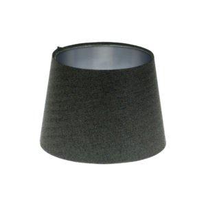 Dark Grey Herringbone Tweed French Drum Lampshade Brushed Silver Inner