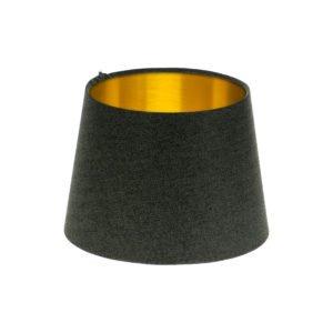 Dark Grey Herringbone Tweed French Drum Lampshade Brushed Gold Inner