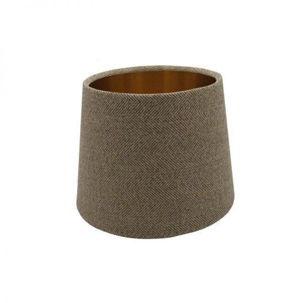 Beige Herringbone Tweed French Drum Lampshade