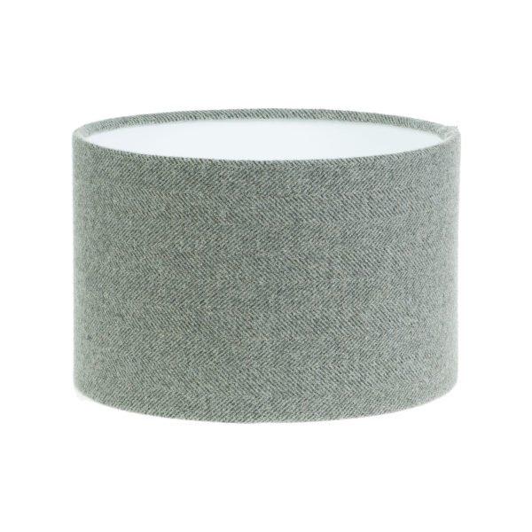 Light Grey Herringbone Tweed Drum Lampshade