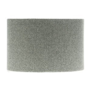 Light Grey Herringbone Tweed Drum Lampshade