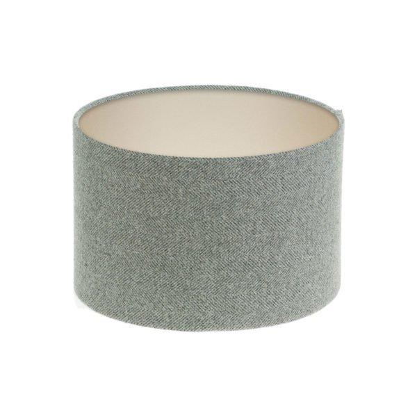 Light Grey Herringbone Tweed Drum Lampshade Champagne Inner