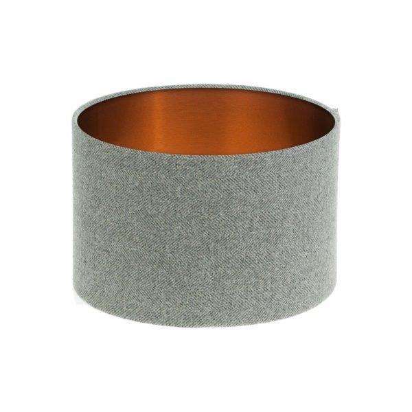 Light Grey Herringbone Tweed Drum Lampshade Brushed Copper Inner
