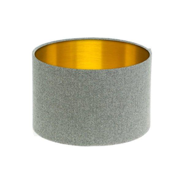 Light Grey Herringbone Tweed Drum Lampshade Brushed Gold Inner